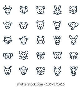 Animal Head Line Icons