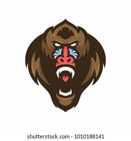 Animal Head - mandrill monkey - vector logo/icon illustration mascot