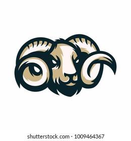 Animal Head - Rams - vector logo/icon illustration mascot