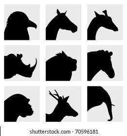 animal head silhouette vector