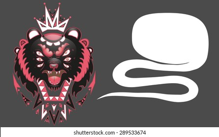 animal head  in tribal  style with talking bubble.  isolated illustration. great for design t-shirts, merchandise for Youth. bear king