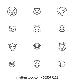 animal head vector cute line icons set
