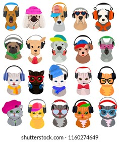 Animal headphones vector cat or dog dj in headphones listening to music illustration set of animalistic character cartoon wild doggy and kitty dj headgear or fashion pets isolated on white background