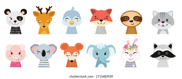 Animal heads illustrations set. Vector illustration of beautiful mammals.