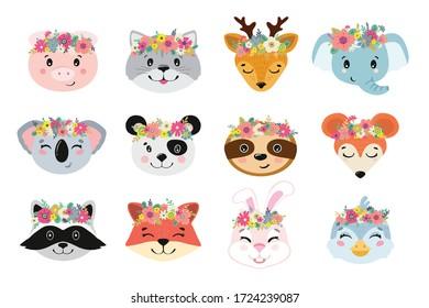 Animal heads illustrations set. Vector illustration of beautiful mammals.
