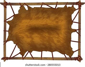 animal hide on frame