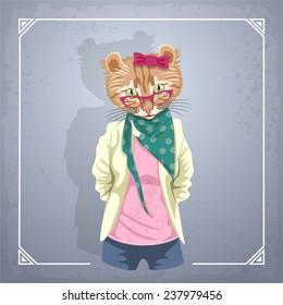 Animal hipster girl