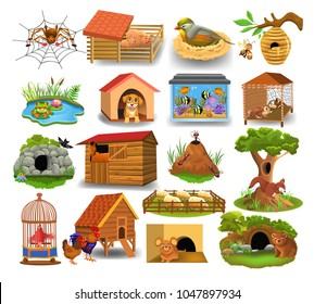 Animal homes isolated on a white background