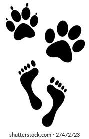animal and human foot steps print