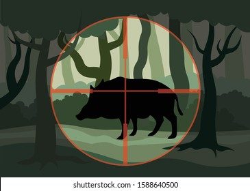 Animal hunting, depicts hunting wild boar, forest clearing on which stands the boar in which the hunter is aiming, vector flat illustration