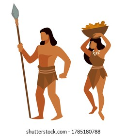 Animal hunting and food gathering occupations during prehistoric era. Ancient people, neanderthals or homo sapiens surviving. Stone age evolution of mankind, anthropology vector in flat style