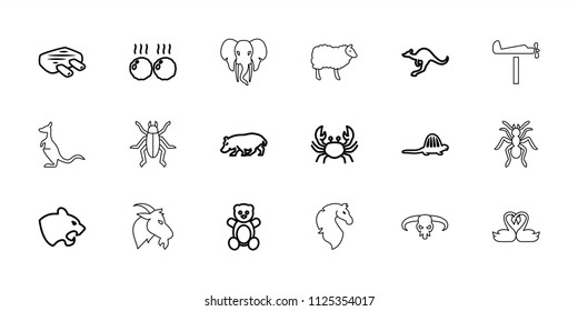 Animal icon. collection of 18 animal outline icons such as panther, crab, cangaroo, hippopotamus, teddy bear, meat, dinosaur, beetle. editable animal icons for web and mobile.