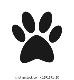 Animal icon flat vector. Black print paw trace. Mysterious foot of an unknown animal isolated on a white background.