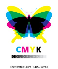 Animal icon silhouette vector, butterfly cartoon shadow symbol, CMYK color chart test print, black bugs figure isolated on white background. Cyan magenta yellow image and gray scale offset template.