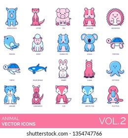 Animal icons including rhinoceros, otter, pig, hamster, hedgehog, pigeon, sheep, guinea, koala, tortoise, turtle, killer whale, rabbit, llama, octopus, jaguar, kangaroo, arctic fox, platypus.