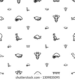 animal icons pattern seamless white background. Included editable outline buffalo, fish, beehouse, chameleon, cangaroo, giraffe, chess horse icons. animal icons for web and mobile.