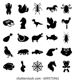 Animal icons set. set of 25 animal filled icons such as bear, dove, hippopotamus, horse, ant, fish, beetle, rabbit, spider web, meat leg, weather vane, bird, bear teddy
