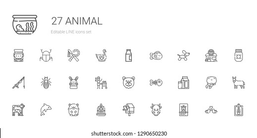 animal icons set. Collection of animal with butterfly, cow, birdhouse, bird cage, hamster, dolphin, giraffe, milk, fishbone, bear, fish, bunny. Editable and scalable animal icons.