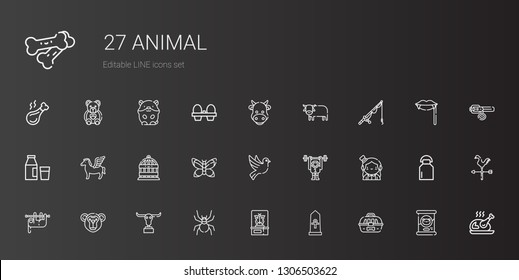 animal icons set. Collection of animal with cage, egypt, butterfly, spider, buffalo, monkey, sloth, magician, dove, bird cage, pegasus, milk. Editable and scalable animal icons.