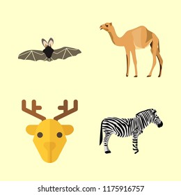 animal icons set. head, dromedary, journey and east graphic works