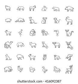 animal icons. vector outline icon set. Zoo