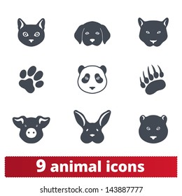 Animal icons: vector set of signs of wild and domestic creatures