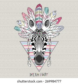animal illustration, aztec zebra, native american poster