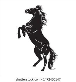 Animal Illustration Black Horse, black & white
