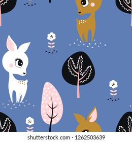 animal illustration cute little deers, can be used for children posters, cards, baby t-shirt and any desing, pattern with cartoon deers, trees and flowers