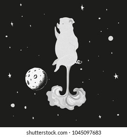 Animal illustration. Drawing illustration.A pig astronaut flies against a starry sky. The T-shirt graphics. The cool cartoon characters