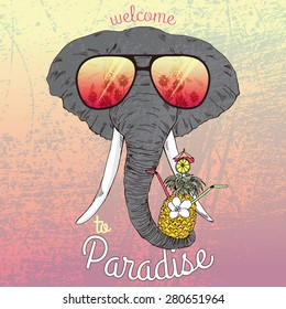 animal illustration, fashion portrait of elephant with exotic cocktail, Hawaii style, summer t-shirt print