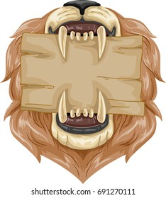 Animal Illustration Featuring a Growling Lion With a Wooden Board Lodged Between its Sharp Teeth