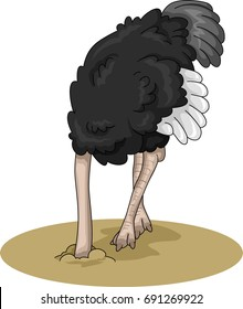 Animal Illustration Featuring an Ostrich Burying its Head in the Moist Sand