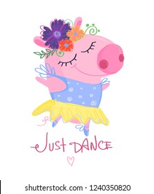 Animal illustration. Funny pig cartoon character