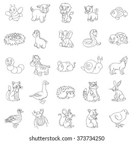 Animal illustrations. Funny vector line art doodles of goofy animal characters. Hand drawn contour style.