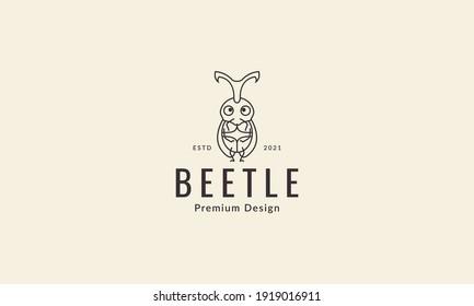 animal insect beetle cute cartoon line logo design vector icon symbol illustration
