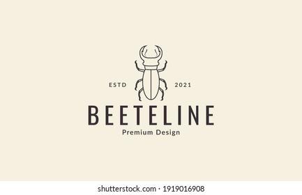 animal insect beetle line logo design vector icon symbol illustration