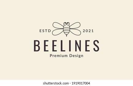 animal insect honey bee lines cute cartoon logo design vector icon symbol illustration