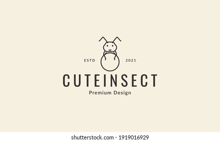 animal insect line dung beetle logo design vector icon symbol illustration