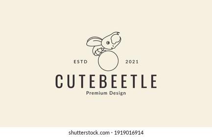 animal insect little beetle cute cartoon line logo design vector icon symbol illustration