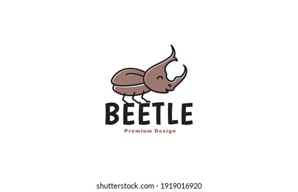 animal insect little beetle cute cartoon brown logo design vector icon symbol illustration