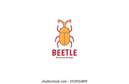 animal insect orange beetle logo design vector icon symbol illustration