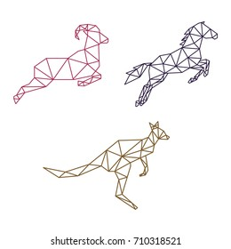 ANIMAL JUMPING LOW POLY LOGO ICON SYMBOL SET. TRIANGLE GEOMETRIC GOAT, HORSE AND KANGAROO POLYGON