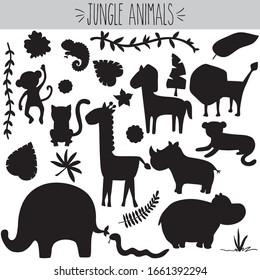 Animal Jungle, Black Silhouette, freehand, tiger, leopard, lion, monkey, chimpanzee, giraffe, Doodle, elephant, hippo, rhino, jaguar, snake, lizard, gecko, tropical leaf, vines, flowers, cute, nursery