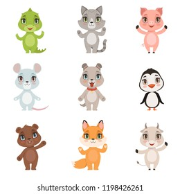 Animal kids collection. Wild crocodile bear penguin fox domestic little cute funny baby animals dog cat goat pig characters isolated. Animal zoo set, dog and alligator, pig and kitten illustration