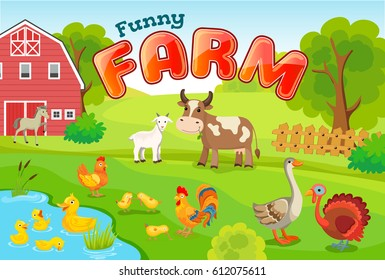 Animal life on the farm. Horizontal cover for children books with title.