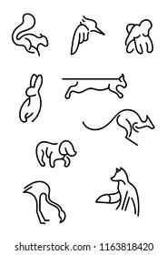 Animal Line Art Logo Set (Squirrel, bird, elephant, hare, caracal, kangaroo, dog, fox, flamingo)