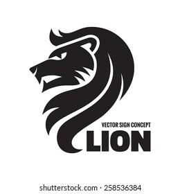 Animal lion head - vector logo template concept illustration. Wilde cat silhouette sign. Design element.