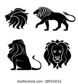 animal lion logo set