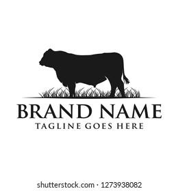 animal logo of black angus cow on grass
